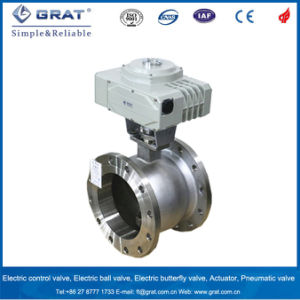 Electric Stainless Steel Double Flange Ball Valve for Steam Regulation pictures & photos