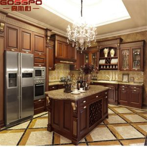 USA Market Solid Wood Furniture Kitchen Cabinet with Island (GSP10-005) pictures & photos