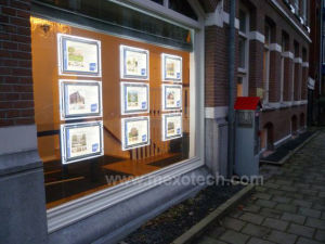 Double-Sided Acrylic LED Light Box for Real Estate Window Displays pictures & photos