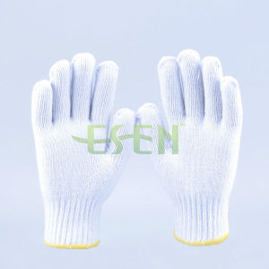 7/10 Gauge White Knitted Cotton Gloves Manufacturer in China/Regenerated Cotton Dyed Blend Yarn pictures & photos