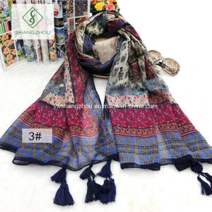 Nepal Folk Style Geometric Cashew Printed Lady Fashion Scarf pictures & photos