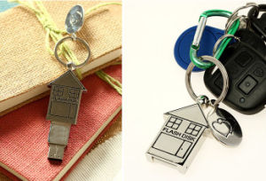 House Shape USB Pen Drive, Metal USB Stick with Keychain pictures & photos