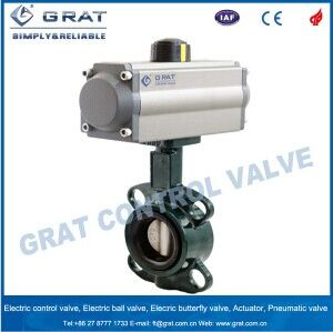 EPDM Lined Wafer Type Cast Steel Pneumatic Butterfly Valve pictures & photos