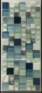 Light Blue Glass and Marble Mosaic Tile for Wall Decoration pictures & photos