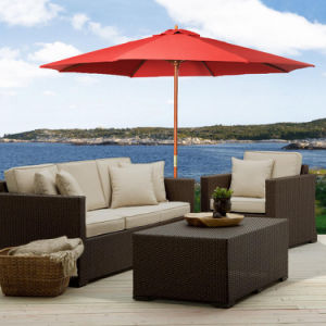 10FT Wooden Patio Umbrella for Sun Shade Wood Pole Outdoor Beach Cafe Garden Red pictures & photos