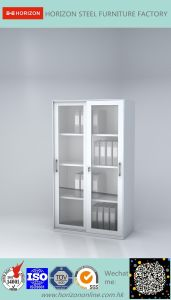 Steel High Storage Cabinet Office Furniture with Steel Sliding Door and 3 Adjust Shelves/Filing Cabinet pictures & photos