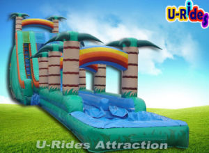 Hot sale 14m Cliffhanger Inflatable Water Slide Inflatable Slide with Small Pool For Event pictures & photos