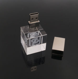 3D Inside Logo Custom Photography Glass Crystal USB 2.0 Flash Drive Memory 1-32g pictures & photos
