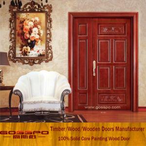 Sapele Home Front Door Design Unequal Double Wood Door (XS1-009) pictures & photos