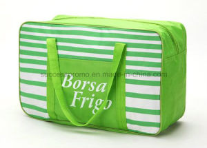 Striped Polyester Insulating Picnic Cooler Lunch Bag with Long Handle pictures & photos