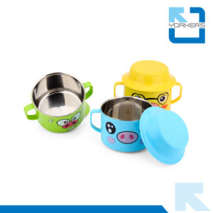 304 18/8 Stainless Steel and PP Double Handle Color Bowl Baby Bowls pictures & photos