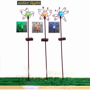 3 Asst Solar Lighted Garden Decoration Metal Stake pictures & photos