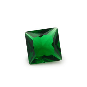 Wuzhou Factory Price Square Princess Cut Green Glass Bead for Stone Jewelry pictures & photos