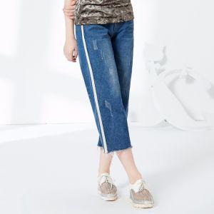 Fashion Women Preppy Style Leisure Loose Stripe Jean Pants pictures & photos