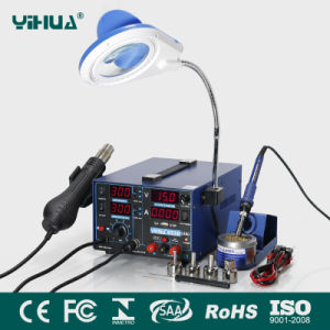 Yihua 853D 2A 4 LED Rework Station with 5V USB Mobile Repair Soldering Station with Magnifier Lamp pictures & photos