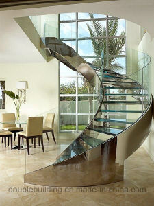 DIY Staircase Curved Staircase with Stone Tread pictures & photos