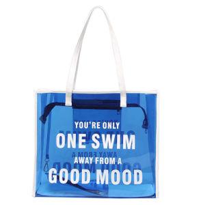 Blue Waterproof PVC White Handle Transparent Handbag (A092)