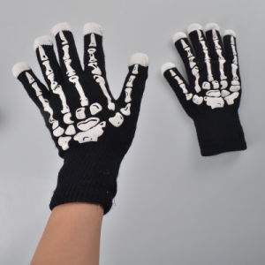 Novelty Bone Pattern Flashing Magic LED Knitted Gloves for Halloween pictures & photos
