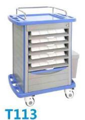 Hospital Steel Nursing Cart Medicine Trolley with Dividers pictures & photos