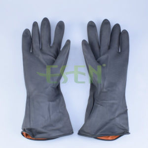 Black Rubber Gloves Black Latex Protective Gloves Oil Resistant to Acid and Alkali Resistant pictures & photos