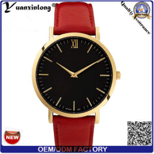 Yxl-060 Fashion Hot Sale Men Women Watch Promotional Gold Plated Vogue Wrist Watch Men′s Leather Quartz Watches pictures & photos