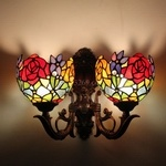 7inch Tiffany Style Double Wall Lamp with Rose Design (7S0-84W2)