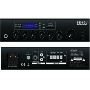 Public Address Mixer Amplifier Se-60u with USB, SD, FM, Bluetooth, Echo pictures & photos