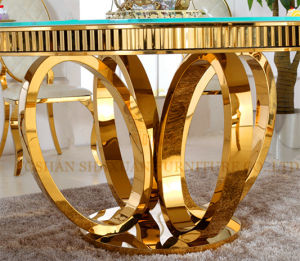 Gold Foshan Marble Round Dining Table Home Furniture Dining Table Set Sj913 pictures & photos