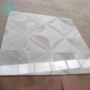 China Carrara White Marble Tile Book Match pictures & photos