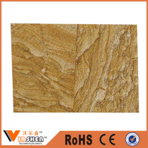 Yellow Teakwood Sandstone Tiles Veneer Natural Wall Stone Decoration pictures & photos