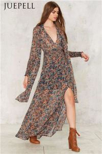Salt of The Earth Floral Women Chiffon Maxi Beach Dress pictures & photos