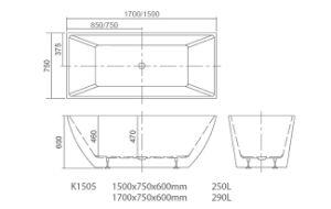 Korra Simple Acrylic Bathtub with Cupc, Ce, Acs, Saso Certficate K1505 pictures & photos