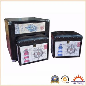 Living Room Furniture 5 PC Linen Print Nesting Drawer Chest Storage Ottoman, Coffee Table pictures & photos