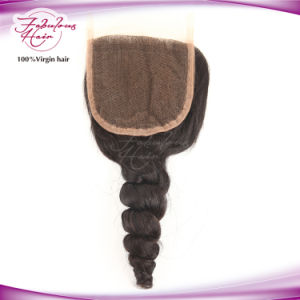 "Indian Hair 4 X 4"" Virgin Hair Loose Wave Manufacture Lace Closure pictures & photos"