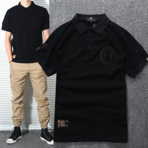 Ribbed Polo Collar Applique/Patched Cotton Golf Custom Polo Shirt pictures & photos