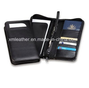 Zipper Leather Travel Passport Holder Card Wallet with Pen Case pictures & photos
