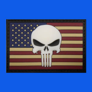 USA Flag Skull Rubber PVC Woven Patch pictures & photos