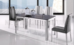 Modern Cheap Square Tempered Glass Top Dining Table with Stainless Steel (NK-DT020) pictures & photos