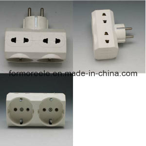 Europe Standard 3 Outlet PC White 250V16A Electronic Travel Adapter pictures & photos