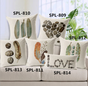 New-Style Natural Cushion Faux Linen Transfer Print Pillow (SPL-810) pictures & photos