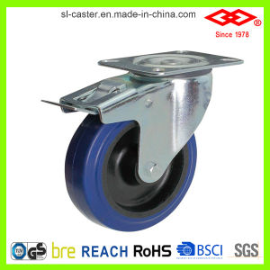 80mm Blue Elastic Rubber Industrial Caster Wheel (P102-23D080X32S) pictures & photos