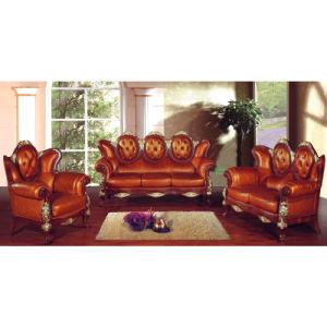 Italian Sofa / Leather Sofa with Wooden Sofa Frame (208B)