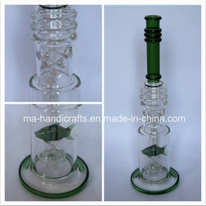 "17"" Green Glass Smoking Water Pipes with Fish Perc pictures & photos"