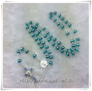 Light Blue Silver Side Beads Rosary with Light Blue Crucifix and Connecting Part (IO-cr389) pictures & photos