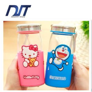 Lovely Colorful Sports Glass Water Bottle with Cloth Cover pictures & photos