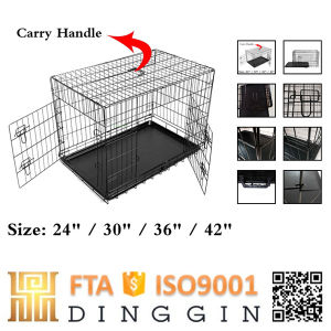 Black Folding Dog Crate Cage pictures & photos