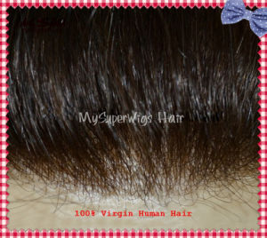 Remy Human Hair Clear PU (polyurethane) Base Injection Toupee pictures & photos