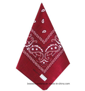 OEM Produce Customized Red Paisley Printed Cotton Bandana Big Handkerchief pictures & photos