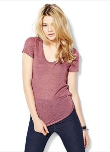 Women′s Poly/Rayon Light Weight Heathered Jersey V-Neck T-Shirt