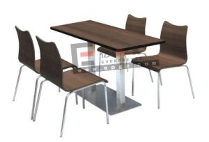 MDF Fast Food Dining Table Chair for 4-Person pictures & photos